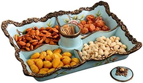 フルーツボウル 欧州の樹脂フルーツボウルストレージは、つまようじホルダーとラック、リビングルームパーティーや結婚式、37x28x6cmのためのパーティションデザインスナック洋菓子ナッツケーキキャンディプレートトレイディスプレイスタンド