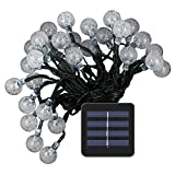 Kumeda LED Solar String Lights, Crystal Global Waterproof Outdoor String Lights, Fairy Light for House,Garden, Yard and Pathway, Decoration Light for Your Wedding, Daily Party and Festival Party White