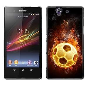 Caucho caso de Shell duro de la cubierta de accesorios de protección BY RAYDREAMMM - Sony Xperia Z L36H C6602 C6603 C6606 C6616 - Football Fire Hot Game Universe Flames