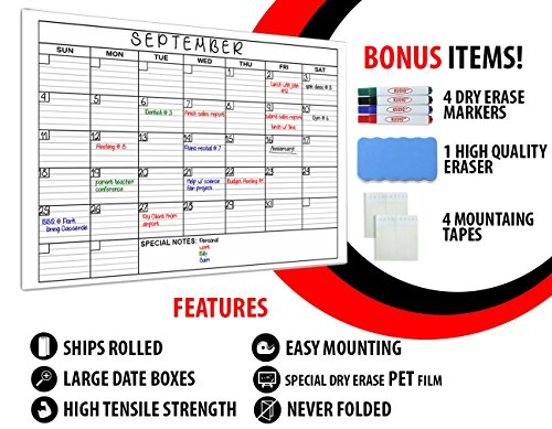 Jumbo Large 2018 Dry Erase Monthly Calendar Set / 36 X 48 Inches, Laminated, Giant Print, Whiteboard / Great for Office, Home, School, Classroom / Comes With 4 Markers, 4 Mounting Strips, and Eraser.