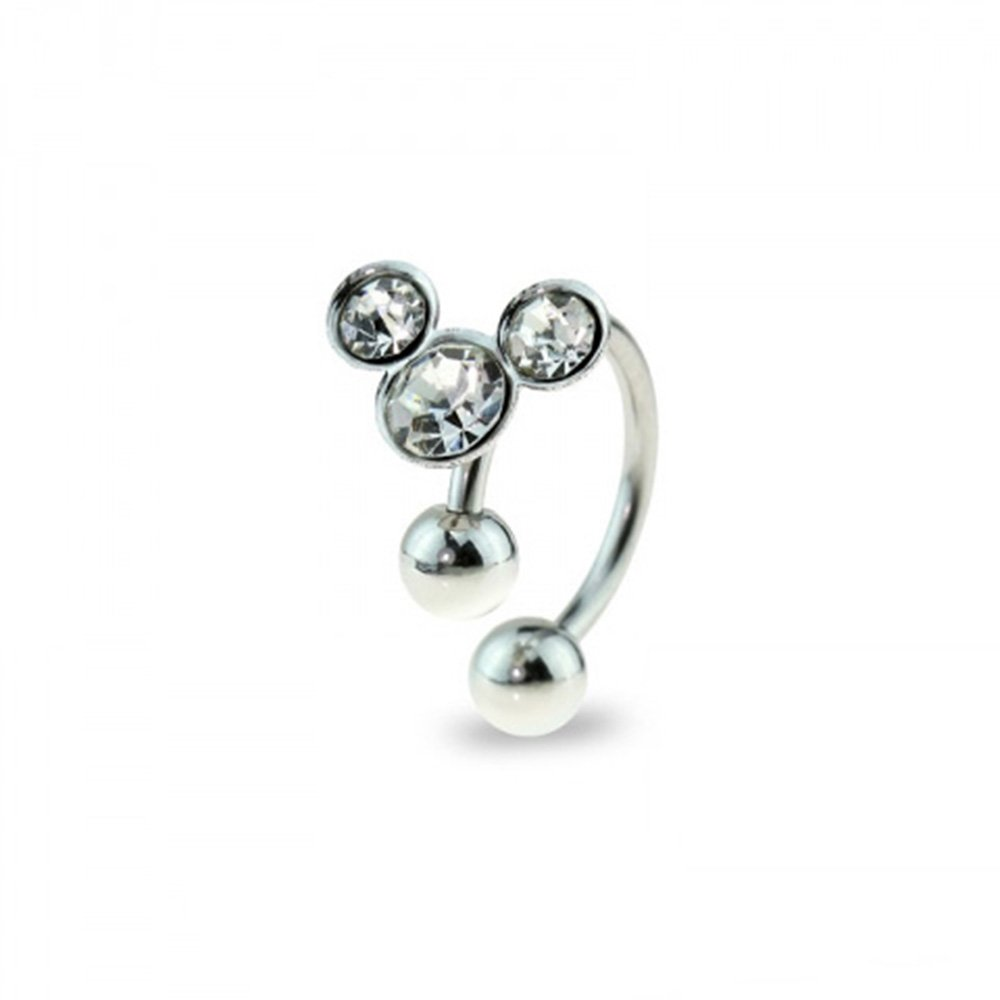 Dynamique Mickey Silver 316L Surgical Stainless Steel Horseshoe With Color Gem Balls (Sold Per Piece)