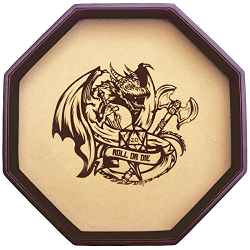 """Fantasydice - ROLL OR DIE- Dice Tray - 11.5"""" Octagon - For Dice, Board Games, Tabletop RPGs Like D&D (DND) 3.5 and 5e, Call of cthulhu, Pathfinder,Shadowrun and other Roleplaying Games"""