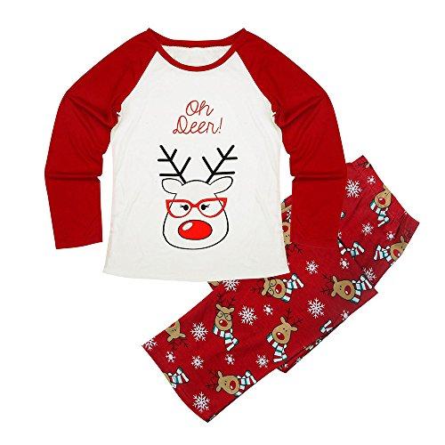 Winsummer Family Matching Pajama Christmas Set Deer Tops+Long Pants (White Mom, M)