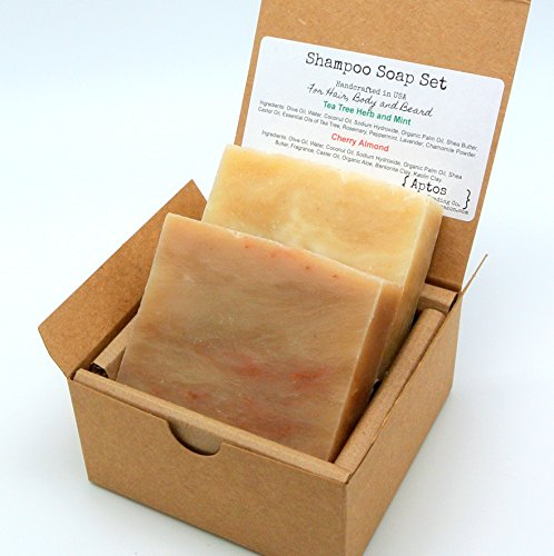 Shampoo Soap Gift Set (2 Full Size Bars) - Cherry Almond, Tea Tree & Mint HAIR / BODY / BEARD Soaps - Perfect for Travel, Gym, Outdoor Activities