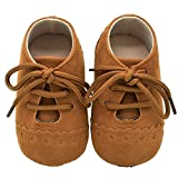 Sunward Baby Snow Shoes, Boys Girls Toddler Anti-slip First Walkers Candy Sneakers 0-18 Months (Brown, 0~6 M)
