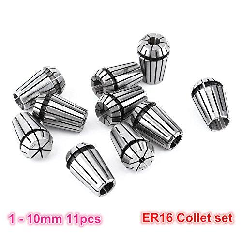 11pcs/set ER16 Precision Spring Collet Set CNC Router Milling Lathe Tool ER16 Spring Collet Chuck (1-10mm) for CNC Spindle motor