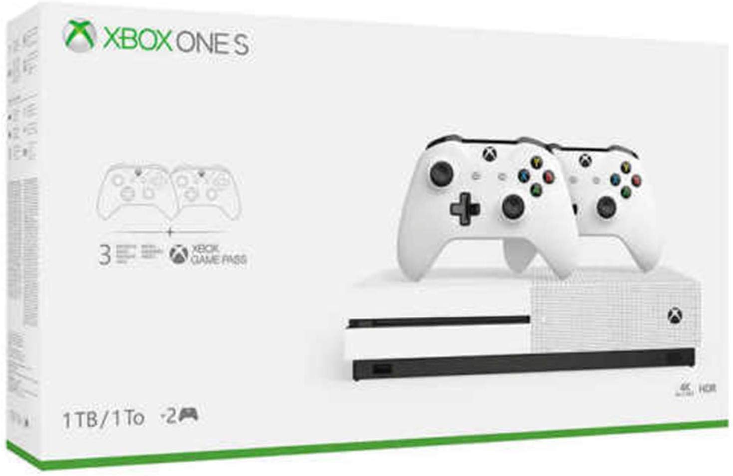 Newest Flagship Microsoft Xbox One S 1TB HDD Bundle with Two (2X) Wireless Controllers, 1-Month Game Pass Trial, 14-Day Xbox Live Gold Trial - White