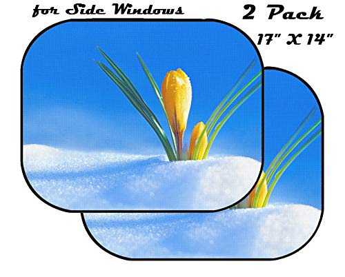 MSD Car Sun Shade for Side Window - UV Protector for Baby and Pet - Block Sunlight - Image of Yellow Floral Beautiful Spring Nature Flower Bloom Beauty Blossom Flora Plant Green Leaf Petal Macro