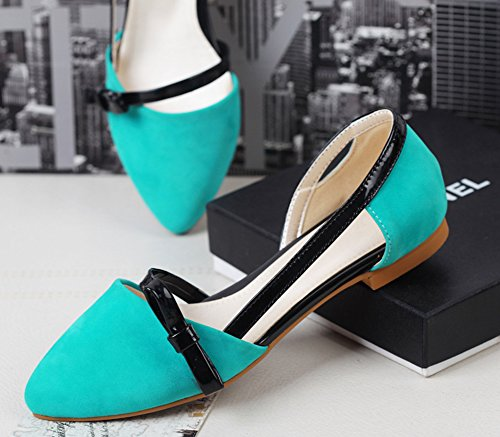 Mignon Plates Noeud Aisun Chaussures Bleu Cheville Ballerines Femme qIvSwa