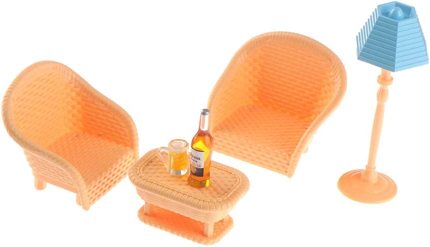 6 Pcs/Set 1:12 Dollhouse Miniature Living Room Furniture Chairs Tea Table Dolls House Kits Dollhouse Furniture and Accessories