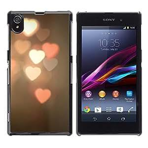 Be Good Phone Accessory // Dura Cáscara cubierta Protectora Caso Carcasa Funda de Protección para Sony Xperia Z1 L39 C6902 C6903 C6906 C6916 C6943 // heart lights blurry pink white