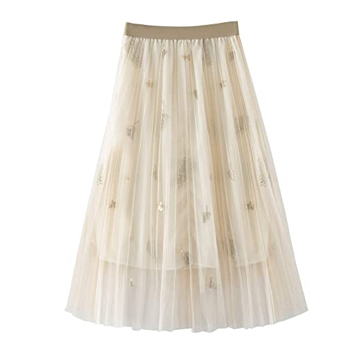 db41e16c79 Women's Mesh Tulle Skirt High Waist Pleated Weaving Sheer A-Line Tutu Midi  Skirts (
