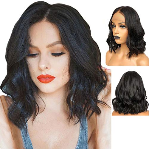 Black Lace Front Long Curly Wavy Wig Head Wigs Women Side Part Heat Resistant Synthetic Wigs with Light Bangs -