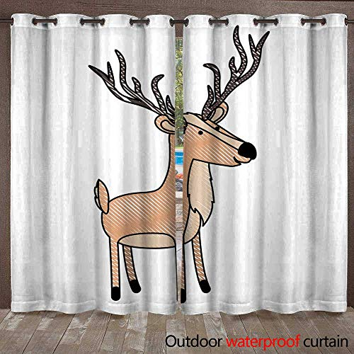 RenteriaDecor Outdoor Curtain for Patio Deer Cartoon with Long Horns in Colored Crayon Silhouette with Black Contour W96 x L108 -