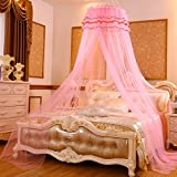 DE&QW European Children Pink Mosquito Net, Bedroom Dome Ceiling Round Princess Girl Bed Canopies Mosquito Curtain-H Queen1
