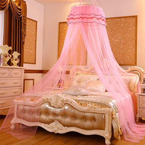 DE&QW European Children Pink Mosquito Net, Bedroom Dome Ceiling Round Princess Girl Bed Canopies Mosquito Curtain-H Queen1 by DE&QW