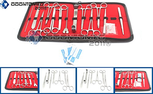 OdontoMed2011 23PCS Advanced Dissection Dissecting KIT- Biology & Anatomy - Science Students- Tools-Free CASE- Scalpel Knife Handle Blades- Veterinary Botany LAB - Animals Frogs Worms ETC ODM