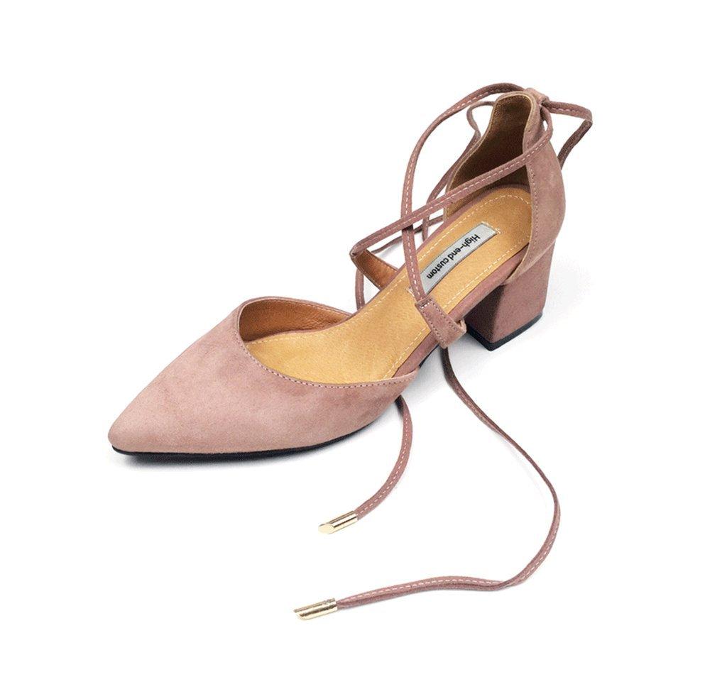 Spitzes High Heels Dame elegante Sandalen Knöchel Schuhe ( Farbe : Pink , größe : 34 ) Pink
