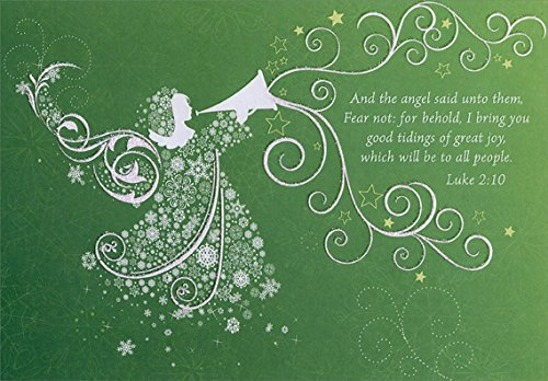 White Angel with Trumpet - Designer Greetings Box of 18 Religious Christmas Cards