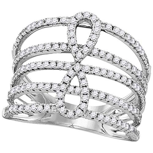 Diamond Infinity Ring Openwork Fashion Band Love Knot Womens Fancy .73ct 18k White Gold