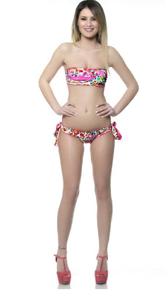 Costume da Bagno Bikini Donna Mare Bikinimania Flores Rosa Fascia Slip Fiocco