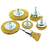 6pk Wire Brush Attachments Kit for Drill, Brass Coated Bristles
