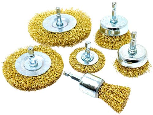 6pk Wire Brush Attachments Kit for Drill, Brass Coated Bristles ()