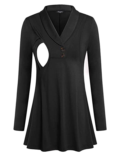 Annery Womens Long Sleeve Nursing Tunic Hoodie with Zipper
