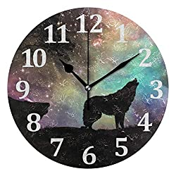 Blueangle Galaxy Wolf Wall Clocks 10 Inch Silent Non Ticking Battery Operated Decoration Clock for Home Kitchen Office School, Round