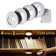 Misso Stick-on Portable Wireless Remote Control Puck Light Under Cabinet Closet Light With Controller Night Light Battery-Operated Wall Light (4 lamps + 1 controller)