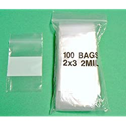 "100 2x3 WHITE BLOCK ZIPLOCK BAG 2MIL WHITE WRITEABLE BAGGIES 2""x3"" SMALL BAGS (2E) NOVELTOOLS"