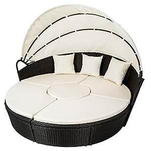 TecTake Conjunto de sillones con un techo isla para tomar el sol de ALUMINIO y ratán sintético negro