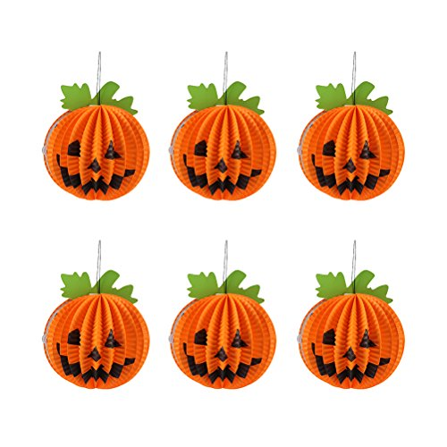 BESTOYARD Halloween Pumpkin Hanging Decorations Paper Lanterns Small Pumpkin for Party Supplies 6PCS]()