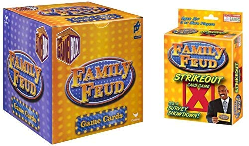 Plush Adult Endless Games (Bonus BRAIN TEASER) Family Feud Strikeout Card Game & Trivia Box Card Game