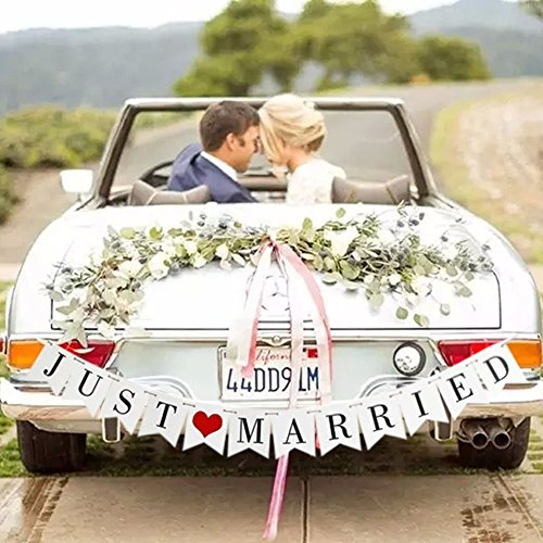 Just Married Banner Wedding Decor Bunting Photo Booth Props Signs Garland Bridal Shower Decoration (Cars Banner Sign)