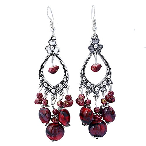 Women's Vintage Fashion Bohemian Long Drop Dangle Earrings Red ()