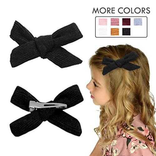 Hair Bows Clip Black Ribbon Knotted Hair Alligator Clip Boutique Accessories for Newborns Little Girls Toddlers