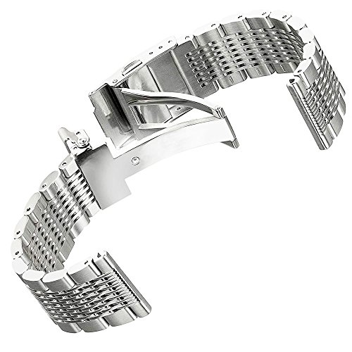 Solid Stainless Steel Watch Bracelet Mesh Band Wristband 22mm Silver with Push Button Deployment Clasp by Kai Tian (Image #2)
