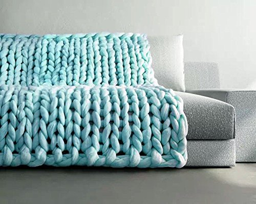 Price comparison product image TAGGMY Blanket for Bedding Home Decor Hand Chunky Knitted Winter Warm Thick Wool Bulky Knitting Throw Quilts (80x100cm, Blue)