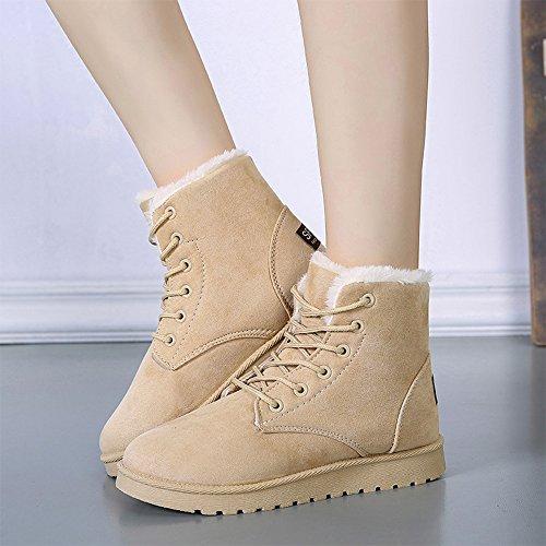 Jackshibo Dames Suede Winter Laarzen Lace Up Katoenen Snowboots Mode Platte Platform Sneaker Schoenen Beige