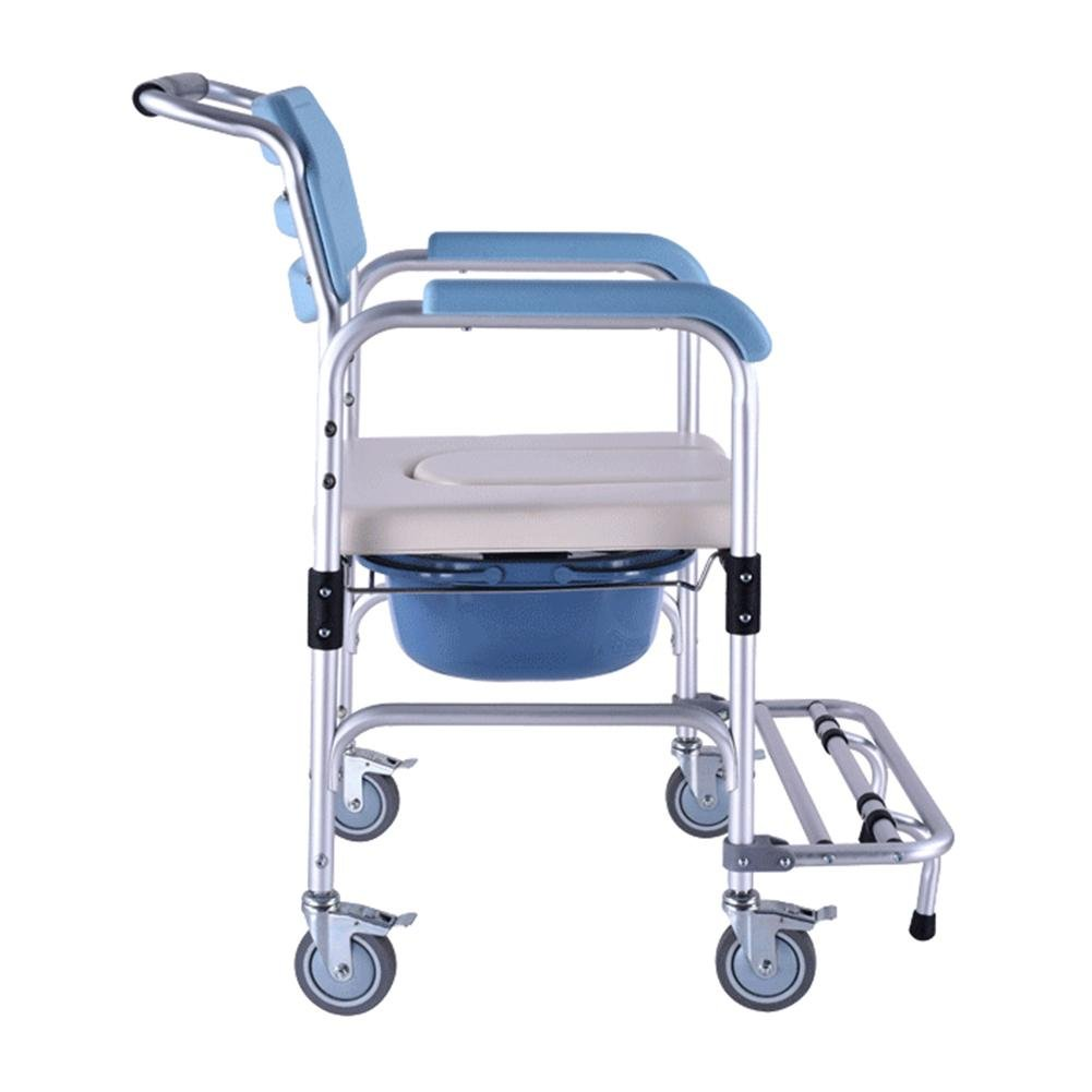 Healthcare Folding Portable Fixed Height Mobile Commode and Over Toilet Chair,Shower Chair With Wheels and Brakes