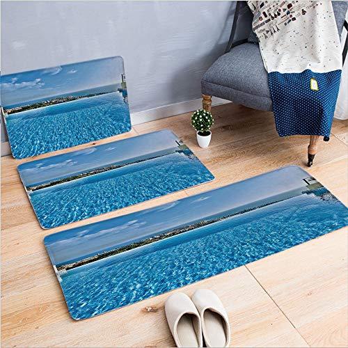 3 Piece Non-Slip Doormat 3d print for Door mat living room kitchen absorbent kitchen mat,Swimming Pool Tropical Seaside Villa Seascape,15.7