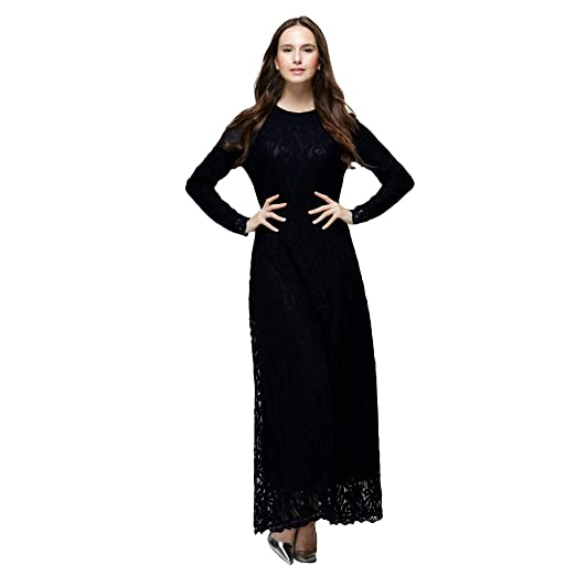 Amazon.com: Women Maxi Party Dress, Muslim Plus Size Lace Kaftan ...