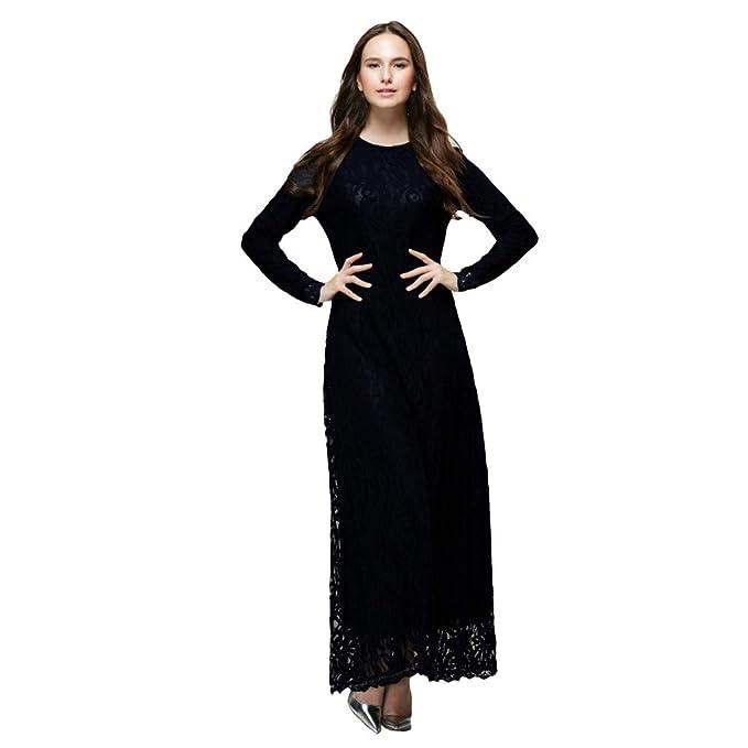 Amazon.com: Women Maxi Party Dress, Muslim Plus Size Lace ...