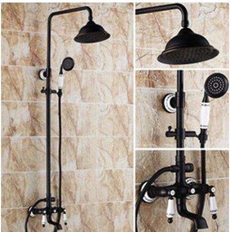 GOWE Classical Oil Rubbed Bronze Soild Brass Bathroom Shower Set Faucet Round Shower Head Ceramic Hand Shower 0