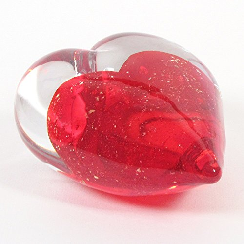 - Large Art Glass Heart Handmade Red Heart with Gold Speckles enclosed in a Clear Glass Heart Truly a Gift of Love Paper Weight