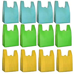 Reusable Grocery T-Sack Bag, Assorted Color 12 Pk Set