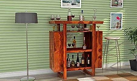Aprodz Sheesham Wood Wine Storage Stylish Hedland Bar Cabinet for Living Room | Teak Finish