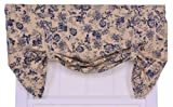 Ellis Curtain Palmer Floral Toile Lined Tie-Up Valance Window Curtain, Navy