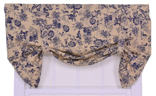 Valance Tie Up Lined - Ellis Curtain Palmer Floral Toile Lined Tie-Up Valance Window Curtain, Navy